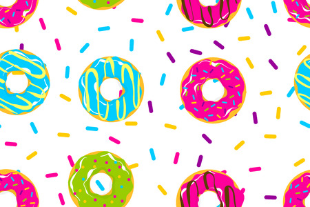 Glazed doughnut seamless pattern. Colored chocolate vanilla donut. Food bakery sweet dessert pop art style. Vector colored illustration.