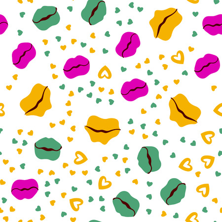 Woman lips seamless pattern doodle modern pop art. Colored lipstick simple vector illustration. Textile design.Valentines day romantic fabric heart silhouette.