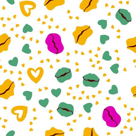 Woman lips seamless pattern doodle modern pop art