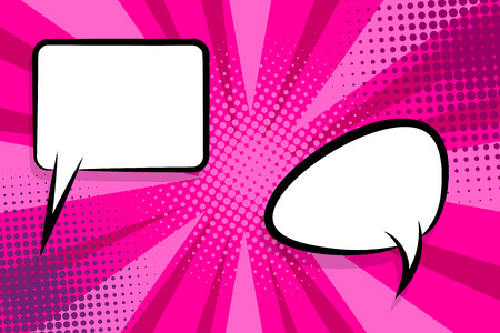 Retro design template. Isolated vector colored illustration. Comic text dialog box cloud. Speech bubble tag. Vector template, blank. Information message. Empty white background. Outline style. Иллюстрация