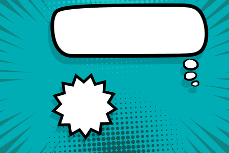 Retro design template. Isolated vector colored illustration. Comic text dialog box cloud. Speech bubble tag. Vector template, blank. Information message. Empty white background. Outline style. Illustration