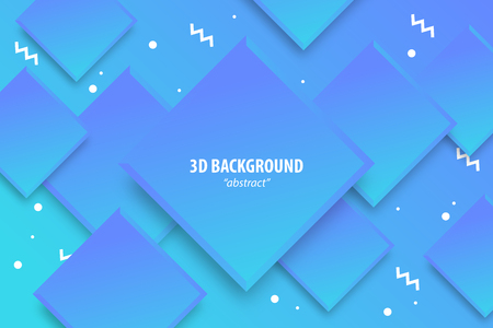 Paper cut neon ultra violet abstract 3d web trendy background. Realistic papercut banner random square layers. 3d backdrop. Concept material design. Minimalist cover template.