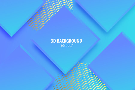 Paper cut neon ultra violet abstract 3d web trendy background. Realistic papercut banner random square layers. 3d backdrop. Concept material design. Minimalist cover template. Golden color.