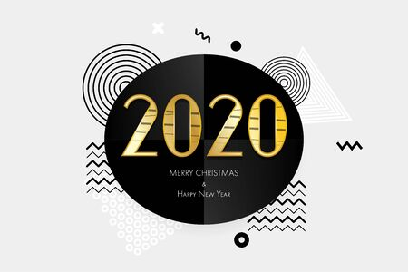 2020 modenr golden card. Greeting Merry Christmas and Happy New Year. Holiday pop art background. Gold numbers 2020 graphic template. Luxury New Year.