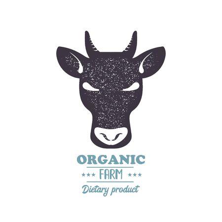 Beef, bull, cow vintage silhouette black stamp