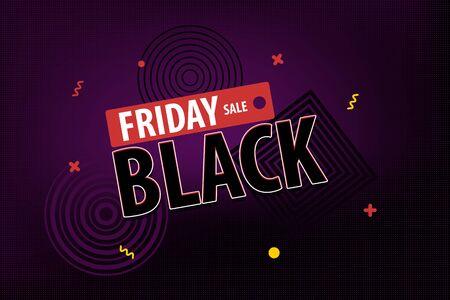 Black Friday dark modern minimalistic halftone background. Comic text plastic retro neon vibrant colors. Super november sale. Discount tag trendy banner.  イラスト・ベクター素材