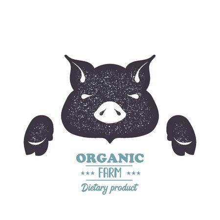 Pig, pork, bbq vintage silhouette animal vector