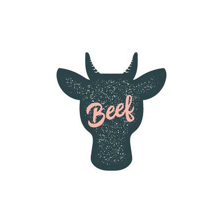 Beef, bull, cow vintage silhouette animal vector
