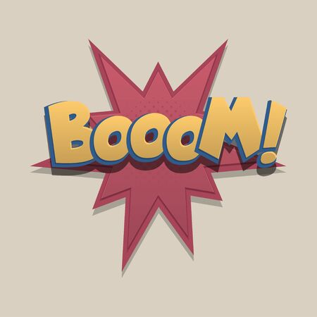 Boom, wow Comic text speech bubble pop art design. Funni comics book sound cloud. Halftone vector illustration label. Explosion comic cartoon effect. Sketch cartoon text character on halftone cloud. 일러스트