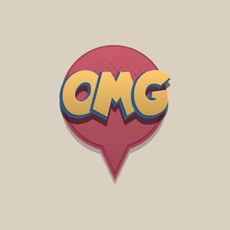 Omg Comic text speech bubble pop art design. Funni comics book sound cloud. Halftone vector illustration label. Explosion comic cartoon effect. Sketch cartoon text character on halftone cloud.