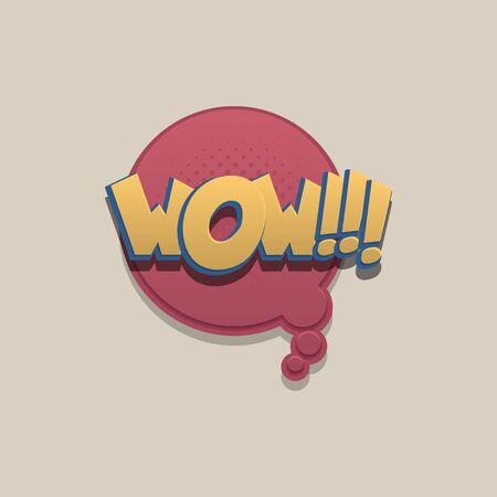 WOW comic text speech bubble pop art design. Funni comics book sound cloud. Halftone vector illustration label. Explosion comic cartoon effect. Sketch cartoon text character on halftone cloud. 일러스트