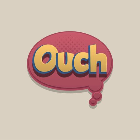 Ouch, oops Comic text speech bubble pop art design. Funni comics book sound cloud. Halftone vector illustration label. Explosion comic cartoon effect. Sketch cartoon text character on halftone cloud.