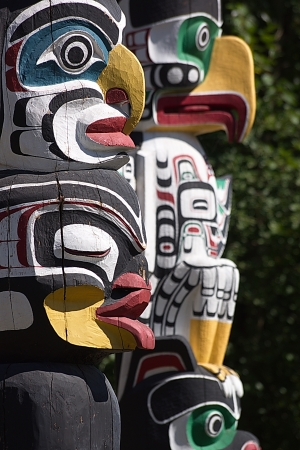 Totem Poles at Stanley Park, Vancouver, B C , Canada                        Stock Photo