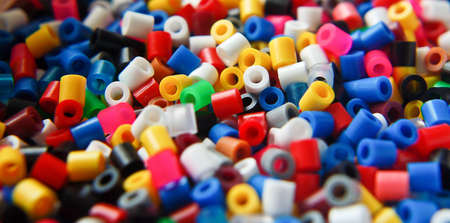 multi-colored small plastic beads