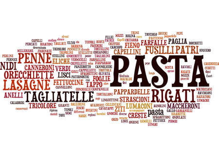 penne: Types of Pasta text cloud