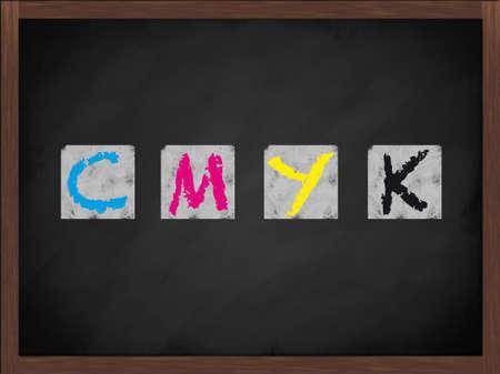 CMYK letters on a framed blackboard photo