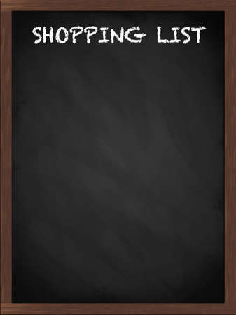 shopping list: Shopping list sign on a framed blackboard