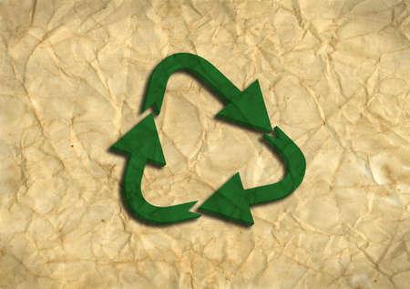 Logotipo de reciclaje 3D verde en papel reciclado Foto de archivo - 8226622