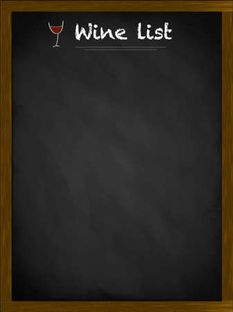 Wine list on a framed blackboard with small glass illustration