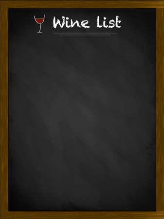 Wine list on a framed blackboard with small glass illustration illustration