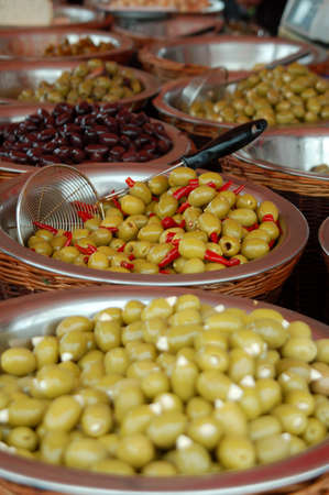Different types of olives on a market stall Stock Photo - 8457004