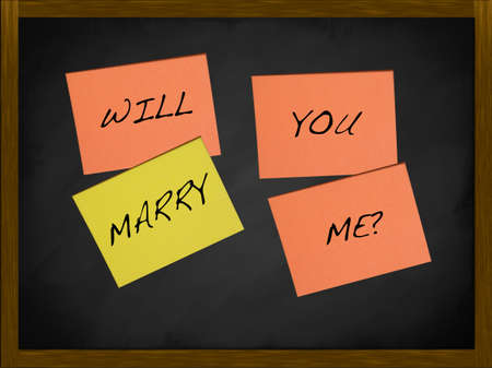 will you marry me: Will you marry me notes on a blackboard Stock Photo