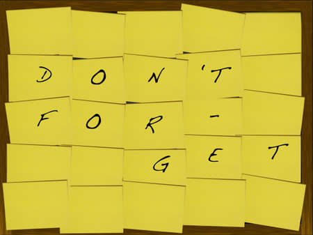not to forget: Do not forget on a blackboard covered with yellow notes