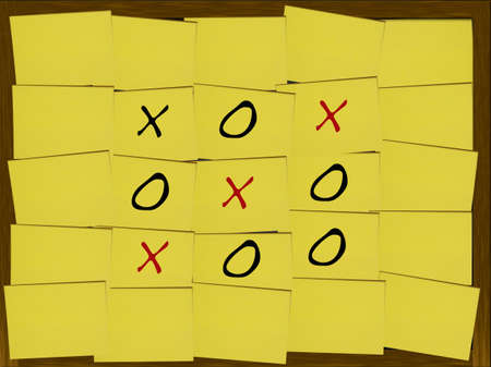 Tic-Tac-Toe game on yellow notes