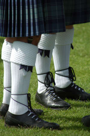 Men wearing traditional kilts Stock Photo