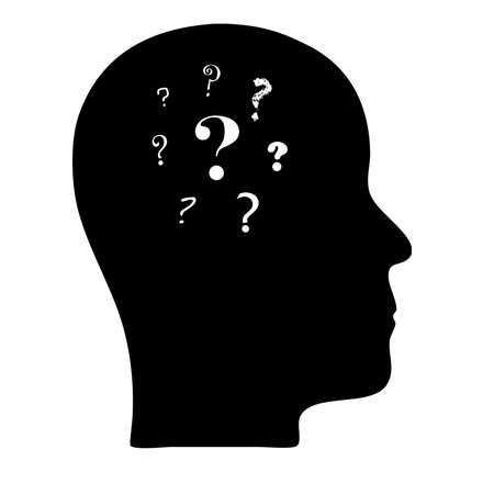 Head silhouette with questions marks