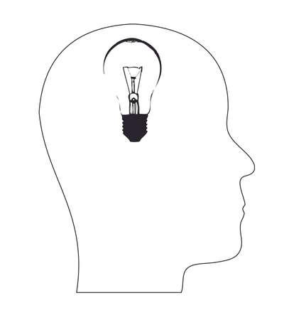 conceptual bulb: head silhouette with light bulb concept