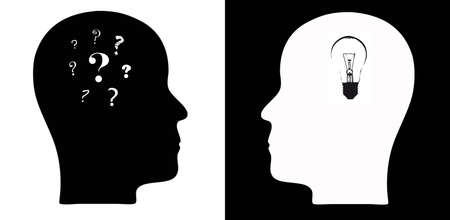 Head silhouettes with questions marks and light bulb