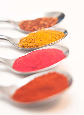 Four Spices presented in teaspoons over white Stock Photo - 8717435