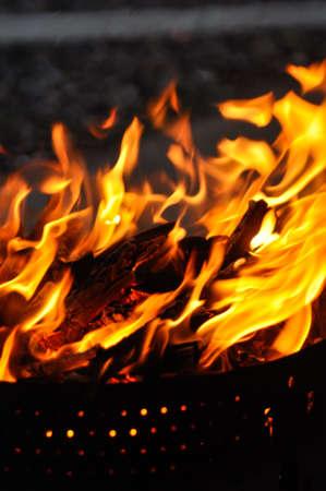 Closeup of a barbecue fire