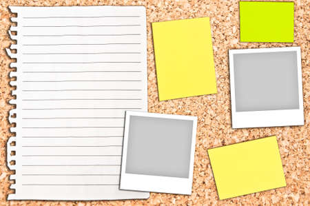 Cork board with empty white page and notes Stock Photo