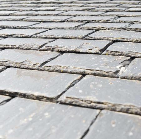 slate roof: Closeup of a slate roof Stock Photo
