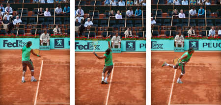 nadal: PARIS, FRANCE - MAY 2008: Rafael Nadal from Spain serves during his first round match against Thomaz Bellucci at Roland Garros on May 28, 2008 in Paris. Rafael NADAL (Spa) beat Thomaz Bellucci (Bra) 7-5 6-3 6-1 and went on to win the tournament.
