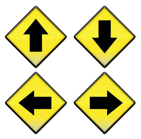 Group of four yellow road signs with arrows  photo