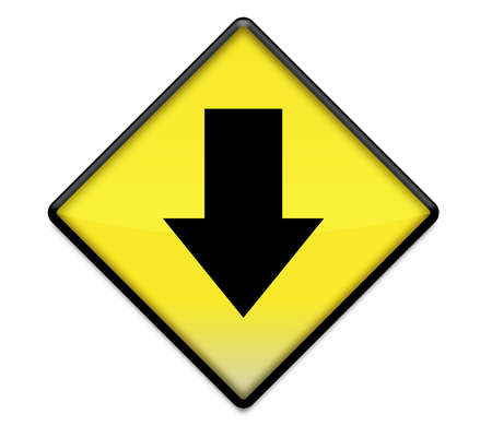 Yellow road sign graphic with arrow pointing down Stock Photo
