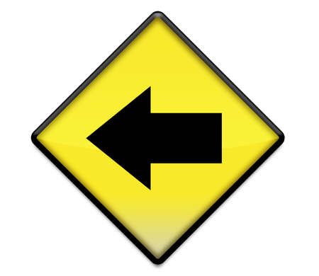 Yellow road sign graphic with arrow pointing left photo