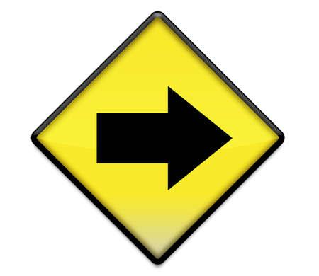 flecha derecha: Gráfico de signo de carretera amarillo con flecha apuntando derecho