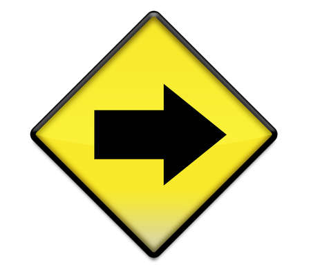 Yellow road sign graphic with arrow pointing right photo