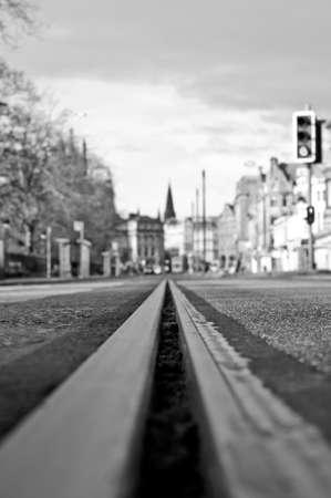 princes street: A tramway line on Princes Street in Edinburgh, Scotland Stock Photo