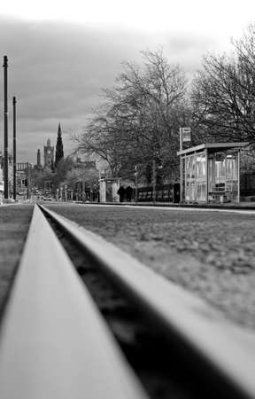 A tramway line with a view on Princes Street in Edinburgh, Scotland