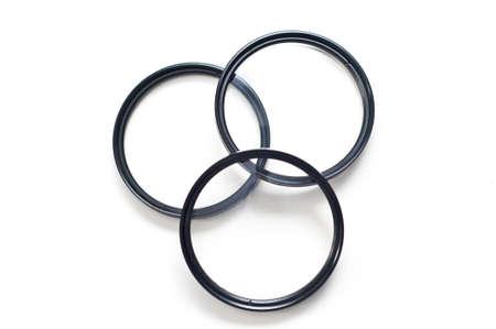 Set of three screw-in photographic lenses Stock Photo