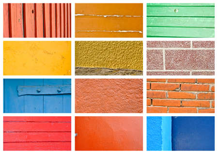 Colorful wall and wood texture collage Stock Photo