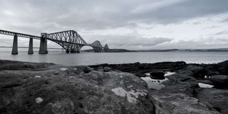 Black and white photograph of the Forth Rail Bridge Stock Photo