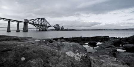 Black and white photograph of the Forth Rail Bridge Stock Photo