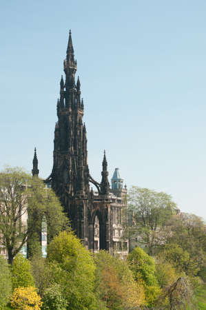princes street: The Edinburgh Scott monument standing on Princes Street