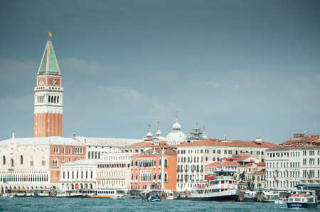 A view of Venice with St Mark Campanile from the laguna Stock Photo